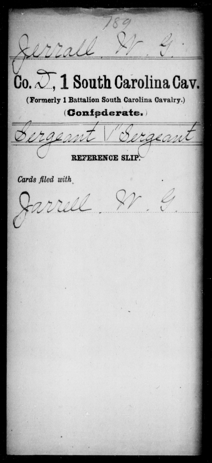 Jerrall, W G - Age: [Blank], Year: [BLANK] - South Carolina First Cavalry Ho-L