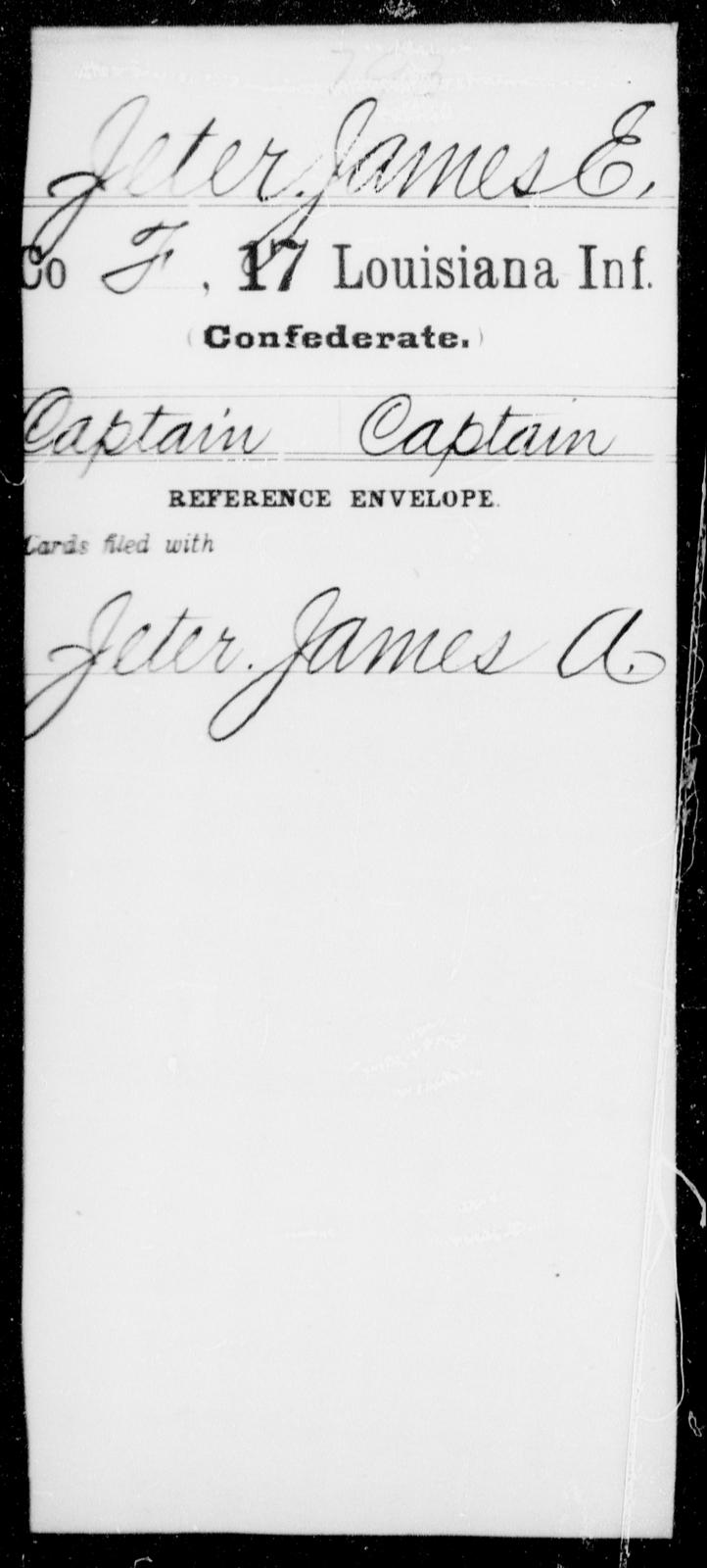 Jeter, James E - Age [Blank], Year: [Blank] - Seventeenth Infantry, G - Je - Louisiana
