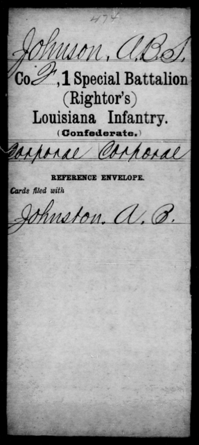 Johnson, A B S - Age [Blank], Year: [Blank] - First (Rightor's) Special Battalion, Infantry, G - M - Louisiana