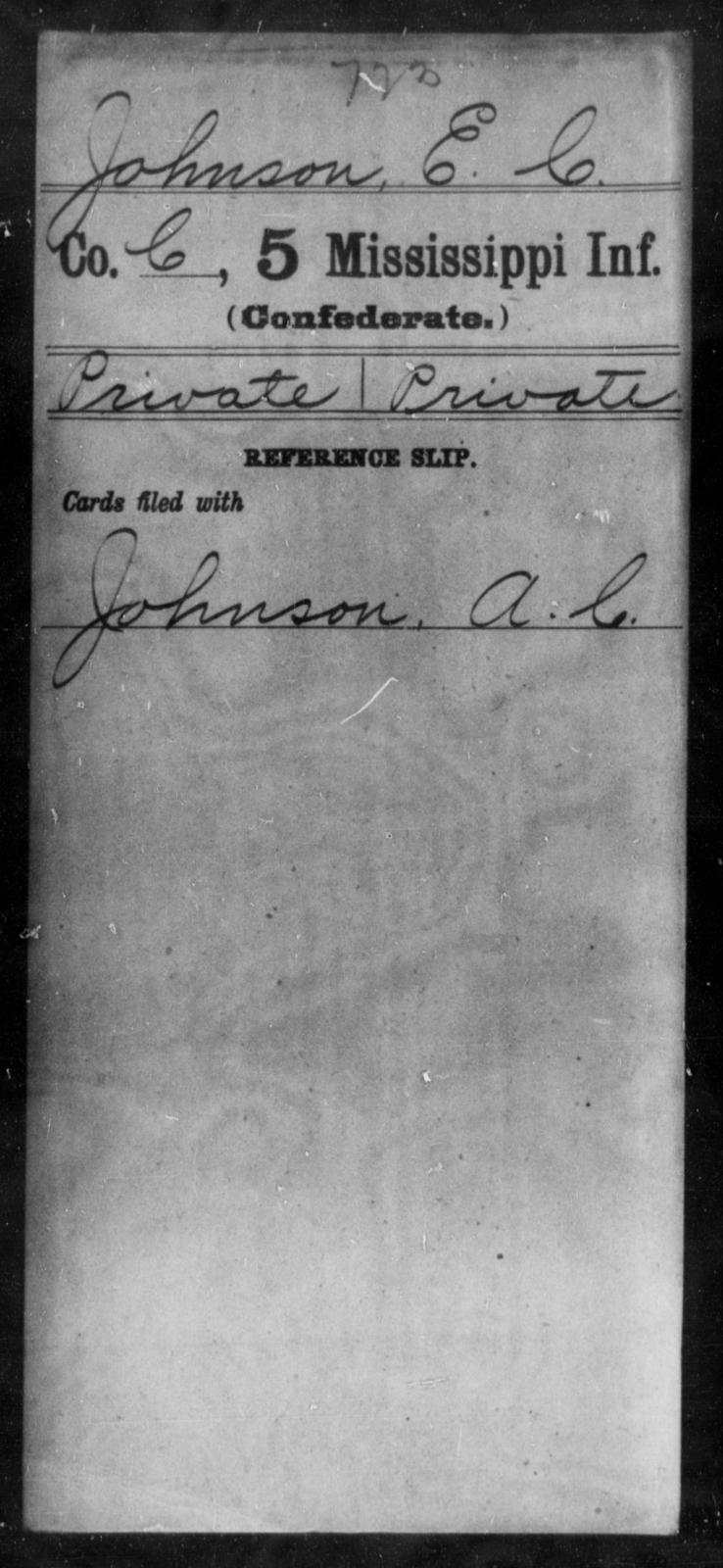 Johnson, E C - Age: [Blank], Year: [BLANK] - Mississippi Fifth Infantry, Ho-Mc