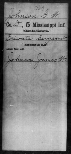 Johnson, G W - Age: [Blank], Year: [BLANK] - Mississippi Fifth Infantry, Ho-Mc