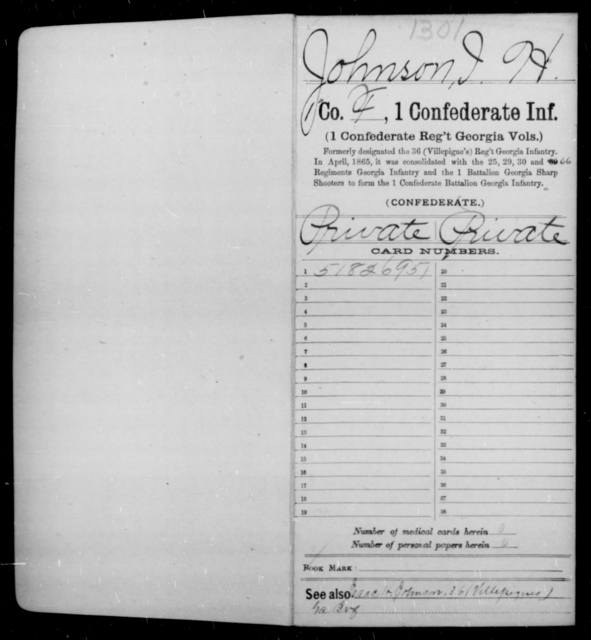 Johnson, I H - Age [Blank], Year: 1862 - First Confederate Infantry, He-K - Raised Directly by the Confederate Government