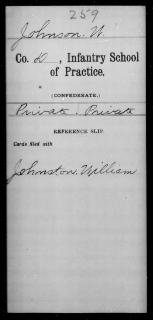 Johnson, W - Age [Blank], Year: [Blank] - Bands, CSA AND Lt. Click's Co., Ordnance Scouts and Guards, CSA AND Infantry School of Practice - Raised Directly by the Confederate Government