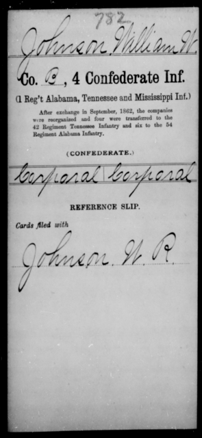 Johnson, William W - Age [Blank], Year: [Blank] - Fourth Confederate Infantry, G-N - Raised Directly by the Confederate Government