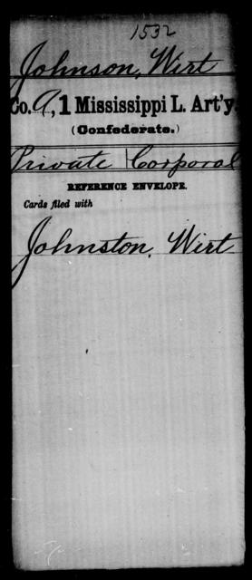 Johnson, Wirt - Age: [Blank], Year: [BLANK] - Mississippi First Light Artillery, Ho-K