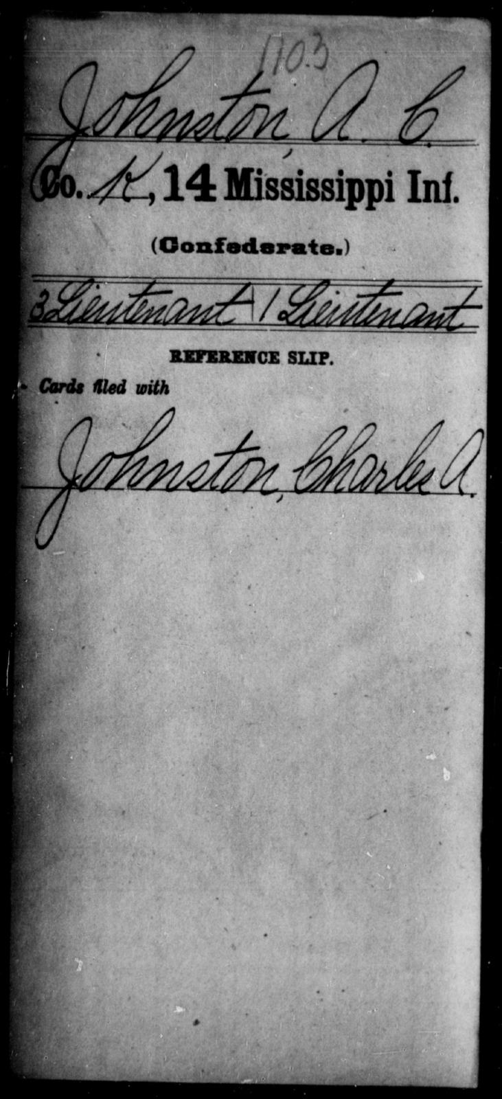 Johnston, A C - Age: [Blank], Year: [BLANK] - Mississippi Fourteenth Infantry, I-Ma
