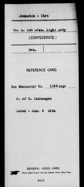 Johnston, Wirt - Age: [Blank], Year: [BLANK] - Mississippi First Light Artillery, Ho-K
