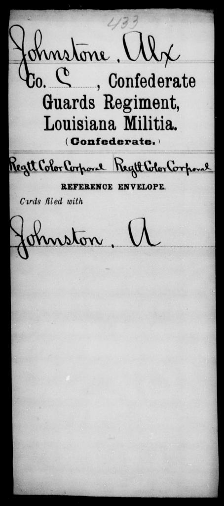 Johnstone, Alx - Age [Blank], Year: [Blank] - Confederate Guards Regiment, Militia, H- S - Louisiana