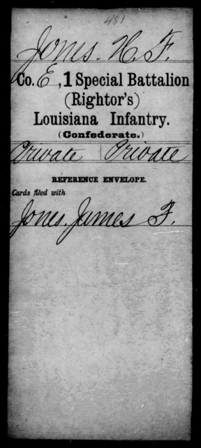 Jones, H F - Age [Blank], Year: [Blank] - First (Rightor's) Special Battalion, Infantry, G - M - Louisiana