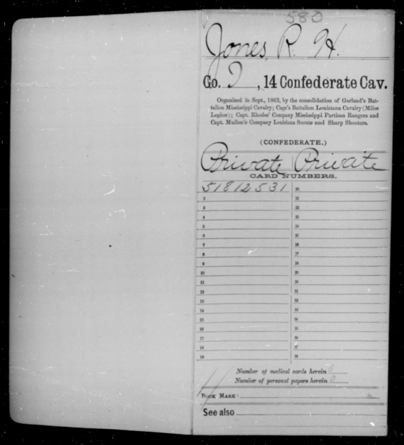 Jones, R H - Age 34, Year: 1864 - Fourteenth Confederate Cavalry, A-K - Raised Directly by the Confederate Government