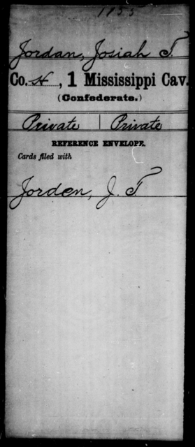 Jordan, Josiah T - Age: [Blank], Year: [BLANK] - Mississippi First Cavalry, E-J