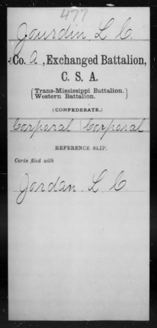 Jourdin, L C - Age [Blank], Year: [Blank] - Gillum's Regiment AND Lt. Haskell's Co., Infantry AND Jackson's Co., CSA AND Capt. McDaniel's Co., Secret Service AND Stirman's Regiment, Sharp Shooters AND Tucker's Regiment, Confederate Infantry, A-D - Raised Directly by the Confederate Government