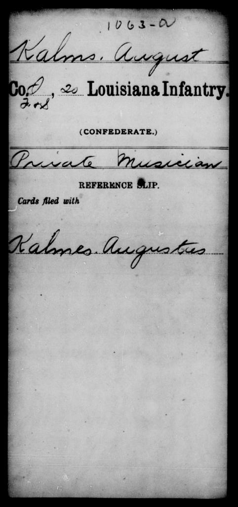 Kalms, August - Age [Blank], Year: [Blank] - Twentieth Infantry, He - La - Louisiana