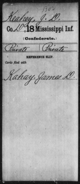 Keahey, J D - Age: [Blank], Year: [BLANK] - Mississippi Eighteenth Tnfantry, K-L