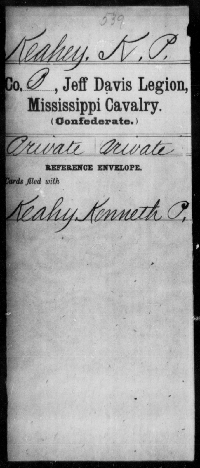 Keahey, K P - Age: [Blank], Year: [BLANK] - Mississippi Jeff Davis Legion, Cavalry, G-K