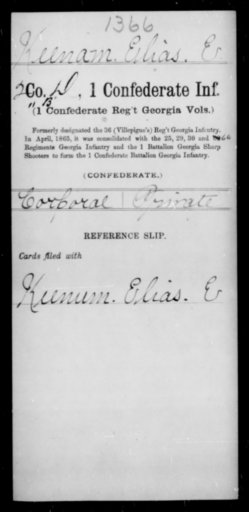Keenam, Elias E - Age [Blank], Year: [Blank] - First Confederate Infantry, He-K - Raised Directly by the Confederate Government