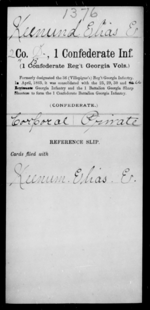 Keenund, Elias E - Age [Blank], Year: [Blank] - First Confederate Infantry, He-K - Raised Directly by the Confederate Government