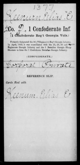 Keeurn, Elias E - Age [Blank], Year: [Blank] - First Confederate Infantry, He-K - Raised Directly by the Confederate Government
