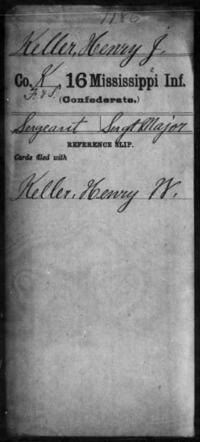Keller, Henry J - Age: [Blank], Year: [BLANK] - Mississippi Sixteenth Infantry, A, Ho-K