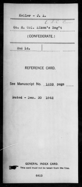 Keller, J A - Age: [Blank], Year: [BLANK] - South Carolina Sixth Cavalry 1-Mc