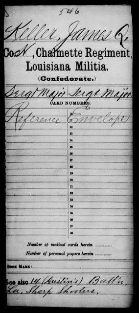 Keller, James Q - Age [Blank], Year: [Blank] - Chalmette Regiment, Militia, C - L - Louisiana