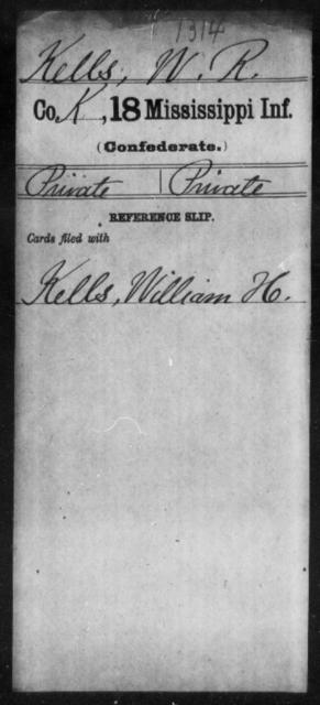 Kells, W R - Age: [Blank], Year: [BLANK] - Mississippi Eighteenth Tnfantry, K-L