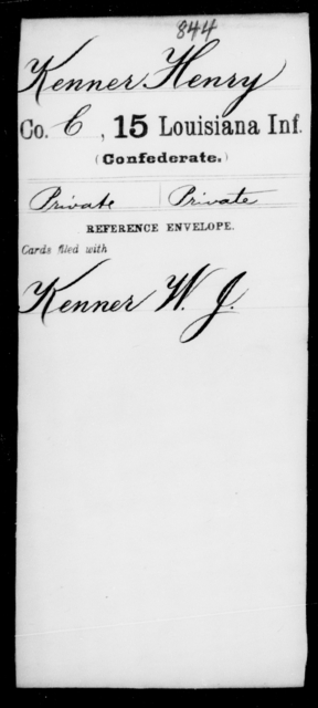 Kenner, Henry - Age [Blank], Year: [Blank] - Fifteenth Infantry, Hu - L - Louisiana