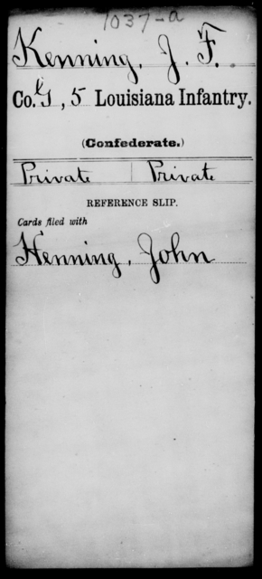 Kenning, J F - Age [Blank], Year: [Blank] - Roll Military Unit, Ho - Ko - Louisiana