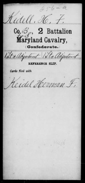 Kidell, H F - Age [Blank], Year: [Blank] - Second Battalion, Cavalry, A-La - Maryland