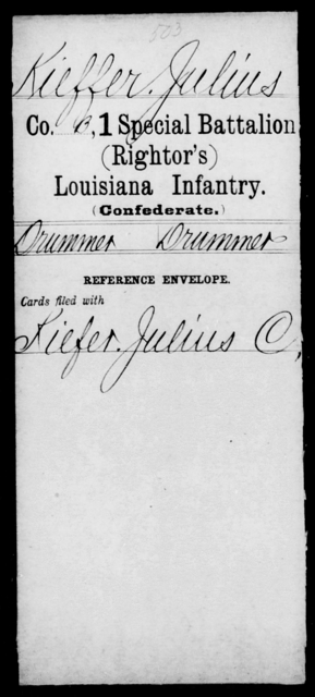 Kieffer, Julius - Age [Blank], Year: [Blank] - First (Rightor's) Special Battalion, Infantry, G - M - Louisiana