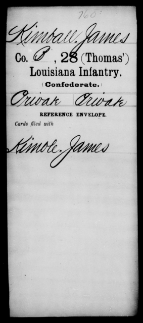 Kimball, James - Age [Blank], Year: [Blank] - Twenty-eighth (Thomas') Infantry, H - M - Louisiana