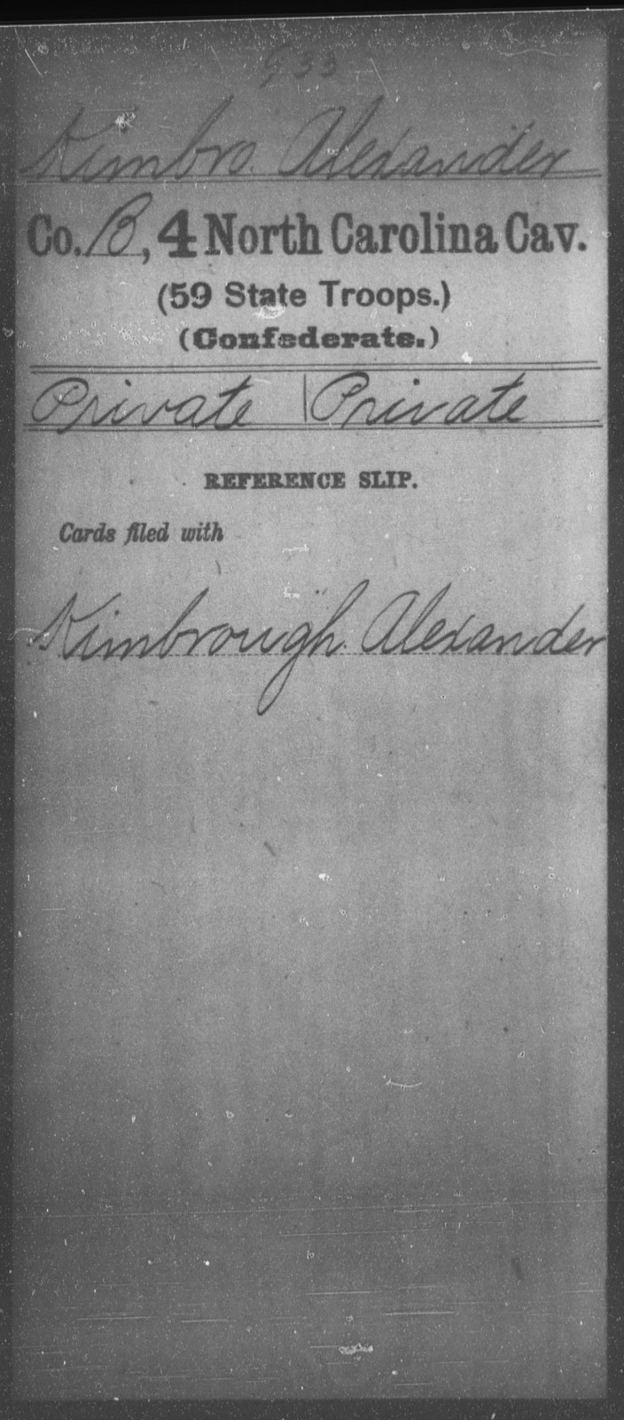 Kimbro, Alexander - Fourth Cavalry (59th State Troops)