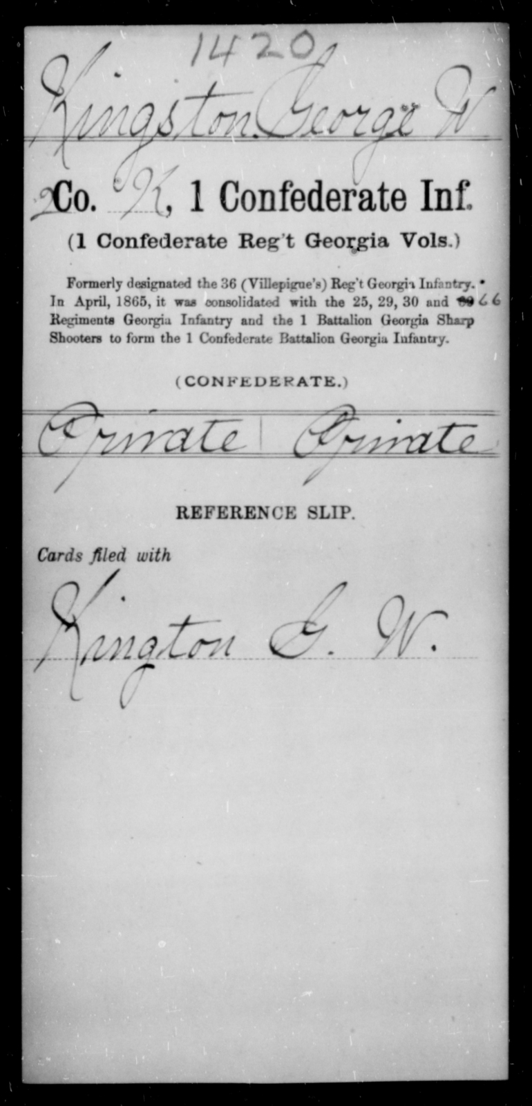 Kingston, George W - Age [Blank], Year: [Blank] - First Confederate Infantry, He-K - Raised Directly by the Confederate Government