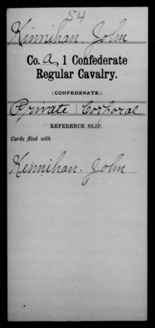 Kinnihan, John - Age [Blank], Year: [Blank] - First Confederate Cavalry, U-Y AND First Confederate Regular Cavalry - Raised Directly by the Confederate Government