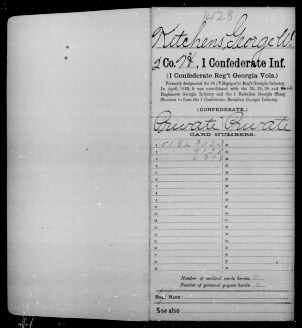 Kitchens, George W - Age [Blank], Year: 1862 - First Confederate Infantry, He-K - Raised Directly by the Confederate Government