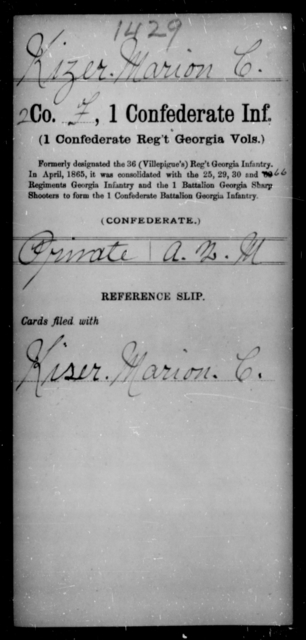 Kizer, Marion C - Age [Blank], Year: [Blank] - First Confederate Infantry, He-K - Raised Directly by the Confederate Government