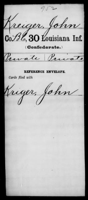 Kreiger, John - Age [Blank], Year: [Blank] - Thirtieth Infantry, K- M - Louisiana