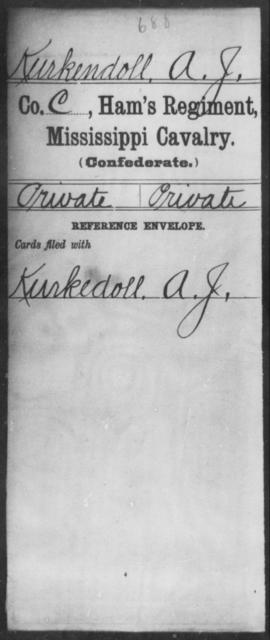 Kurkendoll, A J - Age: [Blank], Year: 1864 - Mississippi Ham's Regiment, Cavalry, H-S