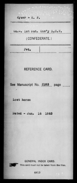 Kyzer, K P - Age: [Blank], Year: [BLANK] - South Carolina First Cavalry Ho-L