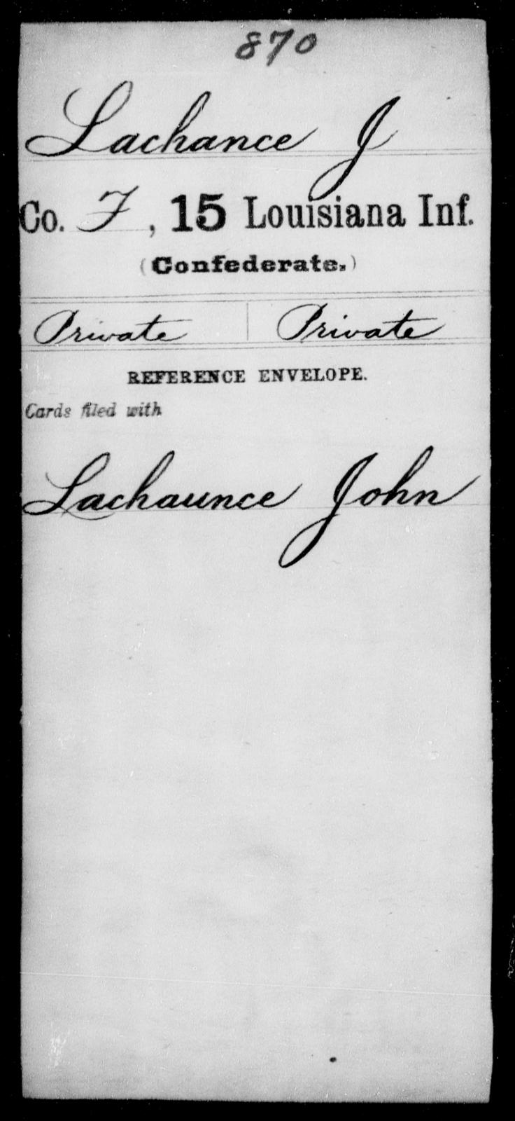 Lachance, J - Age [Blank], Year: [Blank] - Fifteenth Infantry, Hu - L - Louisiana