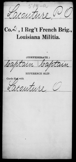 Lacouture, P O - Age [Blank], Year: [Blank] - First Regiment, French Brigade, C - La - Louisiana