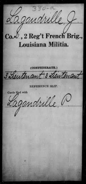 Lagondrille, J - Age [Blank], Year: [Blank] - Second Regiment, French Brigade, Militia - Louisiana