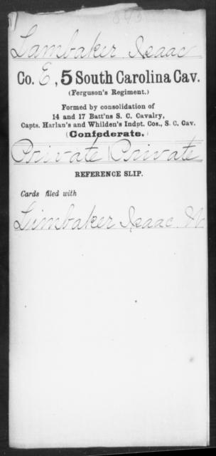 Lambaker, Isaac - Age: [Blank], Year: [BLANK] - South Carolina Fifth Cavalry Hi-Mc
