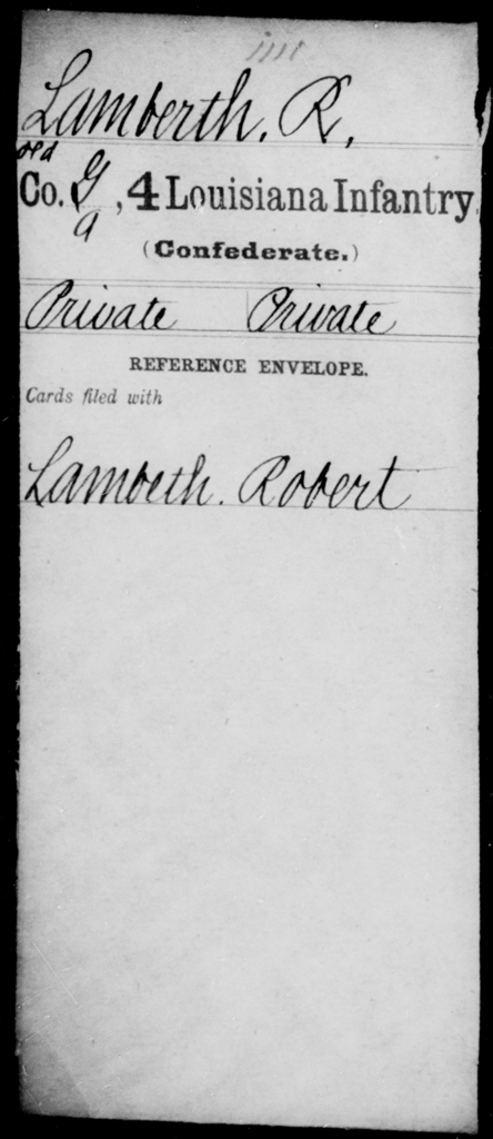 Lamberth, R - Age [Blank], Year: [Blank] - Third Regiment, Third Brigade, First Division, Militia - Louisiana