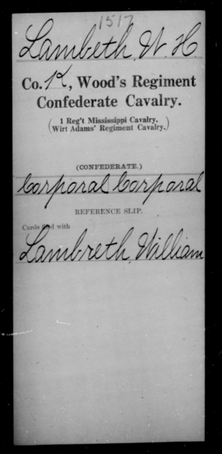 Lambeth, W H - Age [Blank], Year: [Blank] - Wood's Regiment, Confederate Cavalry, Hi-L - Raised Directly by the Confederate Government