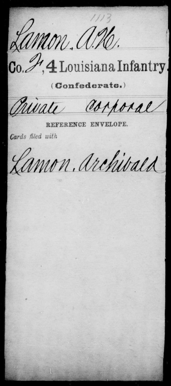 Lamon, A H - Age [Blank], Year: [Blank] - Third Regiment, Third Brigade, First Division, Militia - Louisiana