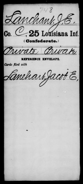 Lanchant, J E - Age [Blank], Year: [Blank] - Twenty-fifth Infantry, He - L - Louisiana