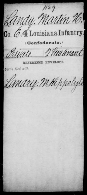 Landy, Martin H - Age [Blank], Year: [Blank] - Third Regiment, Third Brigade, First Division, Militia - Louisiana