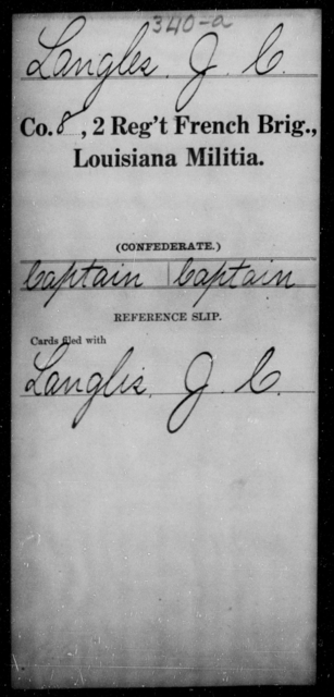 Langles, J C - Age [Blank], Year: [Blank] - Second Regiment, French Brigade, Militia - Louisiana