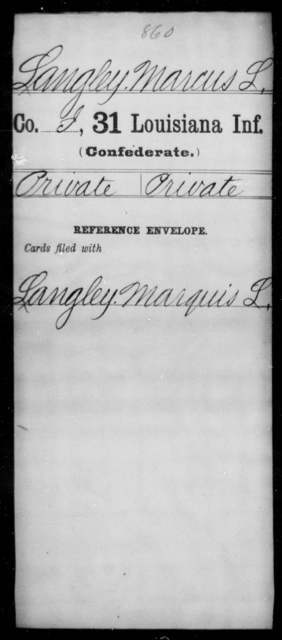 Langley, Marcus L - Age [Blank], Year: [Blank] - Roll Military Unit, H - L - Louisiana